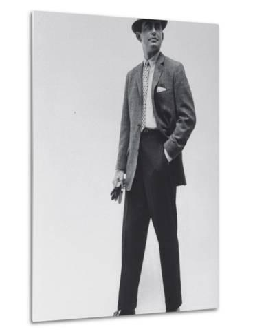 Model Wearing Proper Fashion Suits-Nat Farbman-Metal Print