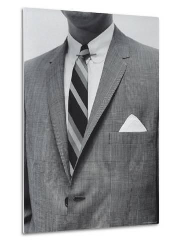 Model Wearing Proper Fashion Suit-Nat Farbman-Metal Print