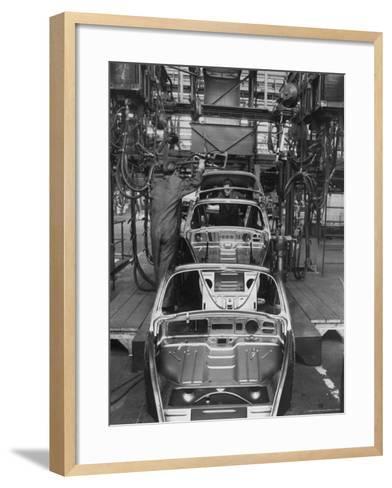 Volkswagen Plant Assembly Line-James Whitmore-Framed Art Print