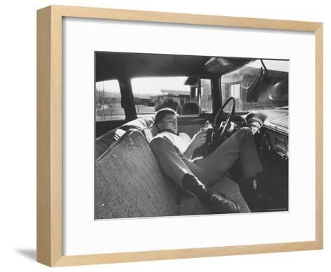 Teenager Robert Riesenmy Jr. Reading in Car at Home-Robert W^ Kelley-Framed Art Print