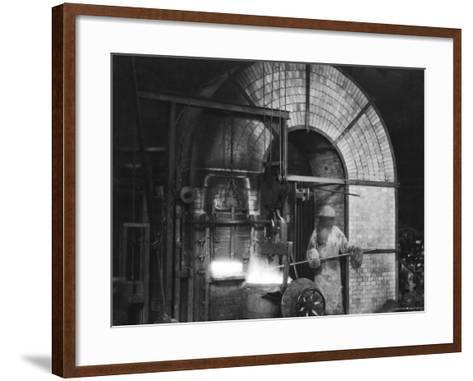Siemens and Schukert Brass Foundry, Where Worker Has His Face Covered to Protect Against Fumes-Emil Otto Hopp?-Framed Art Print