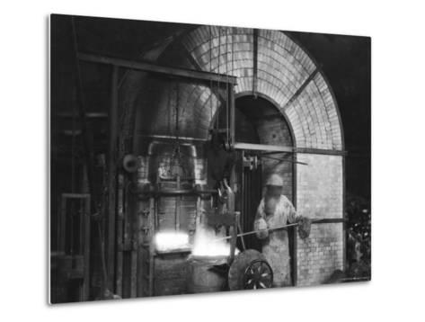 Siemens and Schukert Brass Foundry, Where Worker Has His Face Covered to Protect Against Fumes-Emil Otto Hopp?-Metal Print