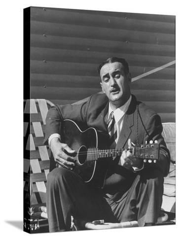 Miner Maurice Ruddick Playing Guitar-Carl Mydans-Stretched Canvas Print