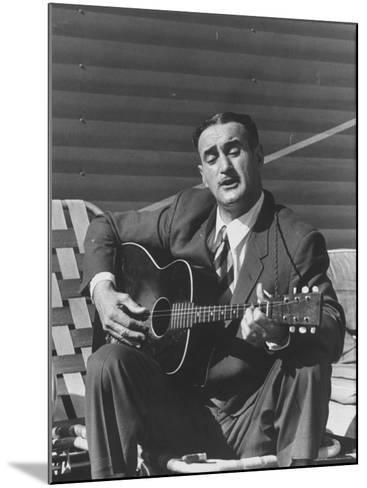 Miner Maurice Ruddick Playing Guitar-Carl Mydans-Mounted Photographic Print