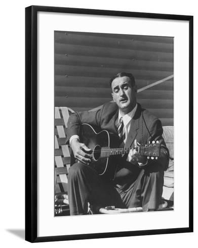 Miner Maurice Ruddick Playing Guitar-Carl Mydans-Framed Art Print