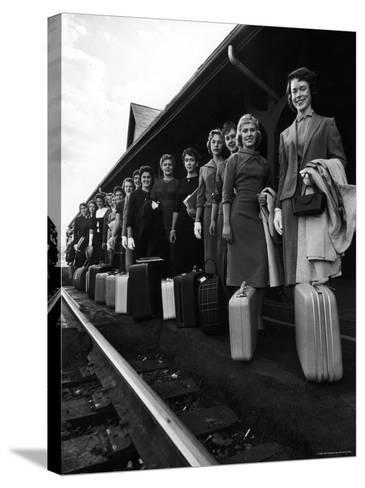 Smith College Girls Standing at Northampton Station with Their Suitcases-Yale Joel-Stretched Canvas Print
