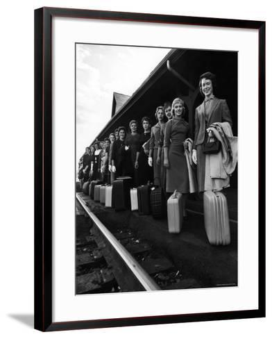 Smith College Girls Standing at Northampton Station with Their Suitcases-Yale Joel-Framed Art Print