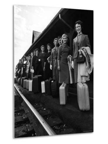 Smith College Girls Standing at Northampton Station with Their Suitcases-Yale Joel-Metal Print