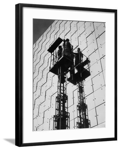 Technicians Adjusting Mirrors of Solar Furnace-Joe Scherschel-Framed Art Print