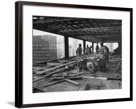 Workers During Construction of Seagrams Building-Frank Scherschel-Framed Art Print