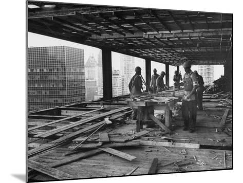 Workers During Construction of Seagrams Building-Frank Scherschel-Mounted Photographic Print