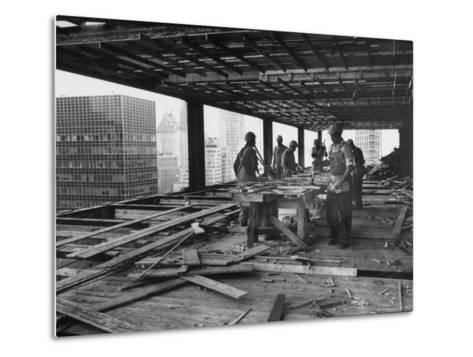 Workers During Construction of Seagrams Building-Frank Scherschel-Metal Print