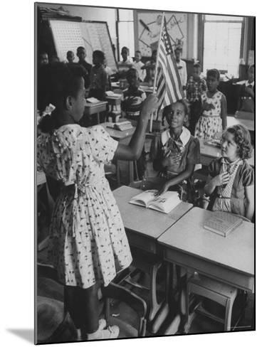 Students Sitting in Newly Integrated Classroom-James Burke-Mounted Photographic Print