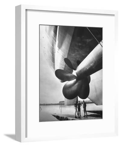 Twin Screw Propeller of New Cunard Liner 'Queen Elizabeth Ii'-Terence Spencer-Framed Art Print