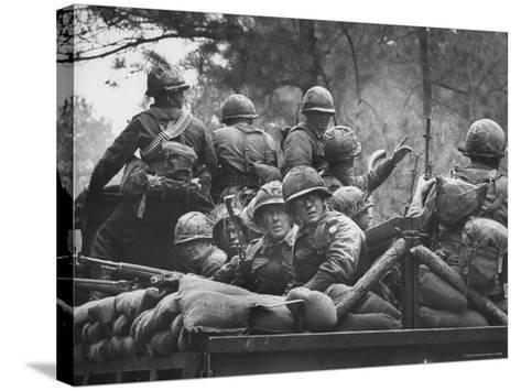 US Trainees at Fort Polk, Undergoing Vietnam Oriented Training, Where They Are About to Be Ambushed-Lynn Pelham-Stretched Canvas Print