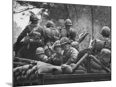 US Trainees at Fort Polk, Undergoing Vietnam Oriented Training, Where They Are About to Be Ambushed-Lynn Pelham-Mounted Photographic Print