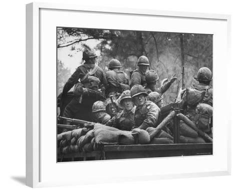 US Trainees at Fort Polk, Undergoing Vietnam Oriented Training, Where They Are About to Be Ambushed-Lynn Pelham-Framed Art Print