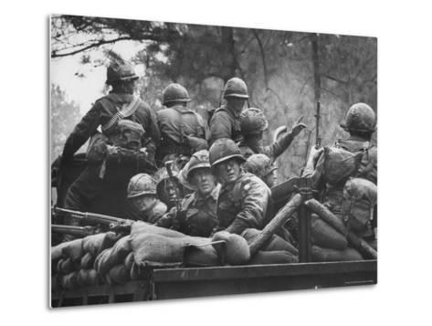 US Trainees at Fort Polk, Undergoing Vietnam Oriented Training, Where They Are About to Be Ambushed-Lynn Pelham-Metal Print