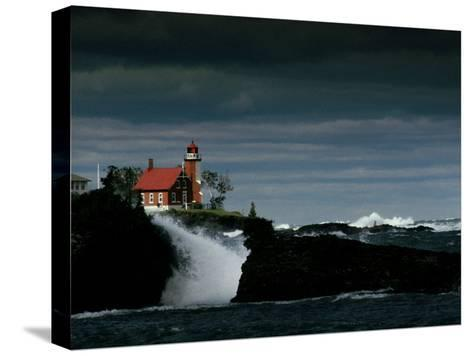 Eagle Harbor Lighthouse in Gale Force Winds--Stretched Canvas Print