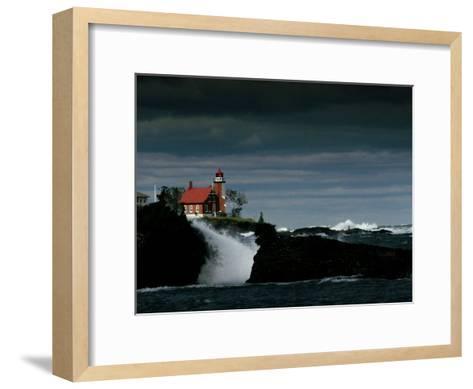 Eagle Harbor Lighthouse in Gale Force Winds--Framed Art Print