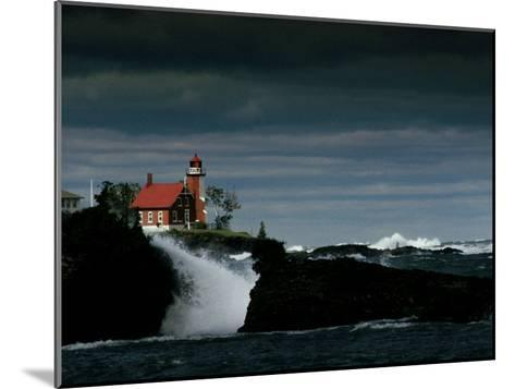 Eagle Harbor Lighthouse in Gale Force Winds--Mounted Photographic Print