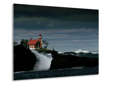 Eagle Harbor Lighthouse in Gale Force Winds--Metal Print