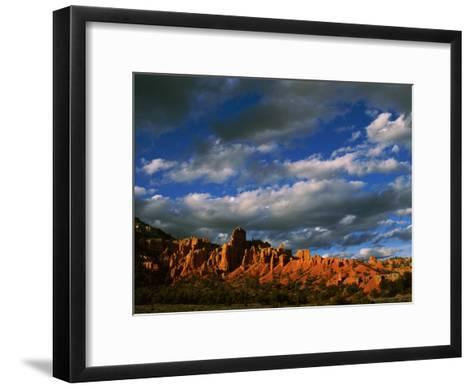 Warm Sunlight Washes over the Landscape of Cliffs in Utah-Barry Tessman-Framed Art Print