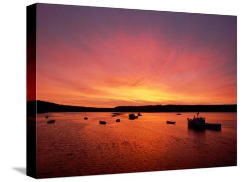 Fishing Boats Dot the Water at Twilight-James P^ Blair-Stretched Canvas Print