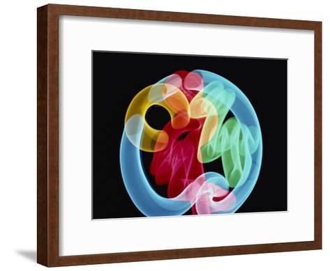 Soft Focus Distorts a Neon Flamingo in a Blue Circle-Stephen St^ John-Framed Art Print