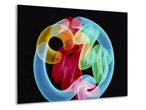 Soft Focus Distorts a Neon Flamingo in a Blue Circle-Stephen St^ John-Metal Print