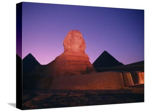 The Great Sphinx Illuminated at Night-Richard Nowitz-Stretched Canvas Print