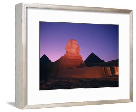 The Great Sphinx Illuminated at Night-Richard Nowitz-Framed Art Print