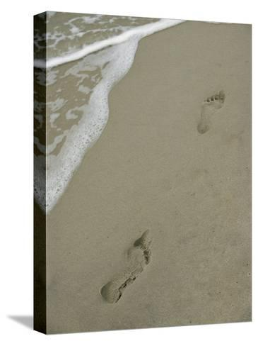 Footprints on the Beach-Al Petteway-Stretched Canvas Print