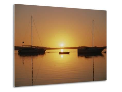 Sailboats Silhouetted at Sunset on Morro Bay-Rich Reid-Metal Print