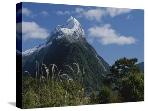 Mitre Peak in Milford Sound with Puffy White Clouds-Todd Gipstein-Stretched Canvas Print