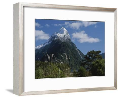 Mitre Peak in Milford Sound with Puffy White Clouds-Todd Gipstein-Framed Art Print