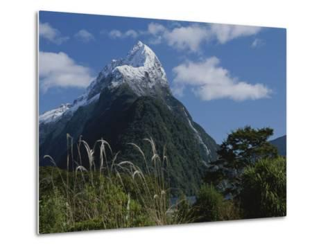 Mitre Peak in Milford Sound with Puffy White Clouds-Todd Gipstein-Metal Print