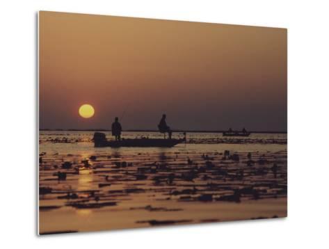 Fishermen Take in the First Rays of the Rising Sun on Lake Okeechobee-Nicole Duplaix-Metal Print