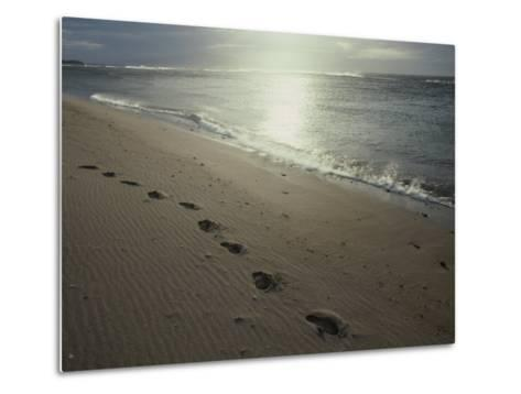 Footprints in the Sand on a Beach-Todd Gipstein-Metal Print