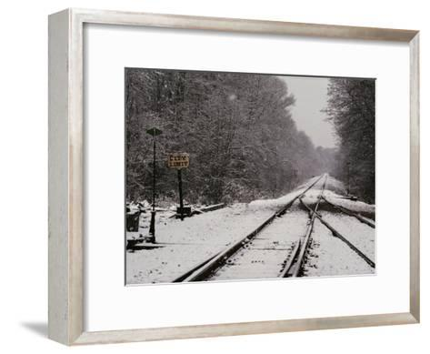 Railroad Tracks in Snow at the Courtland City Limit-Medford Taylor-Framed Art Print