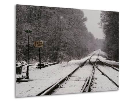Railroad Tracks in Snow at the Courtland City Limit-Medford Taylor-Metal Print