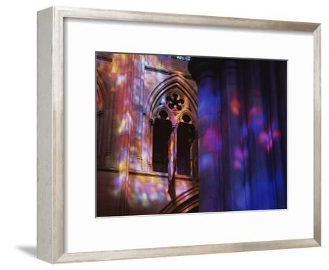 Rich Colors Projected from Stained Glass Windows onto Walls-Stephen St^ John-Framed Art Print