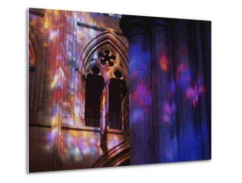 Rich Colors Projected from Stained Glass Windows onto Walls-Stephen St^ John-Metal Print