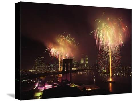 Fireworks in New York Harbor, July 4th-Medford Taylor-Stretched Canvas Print