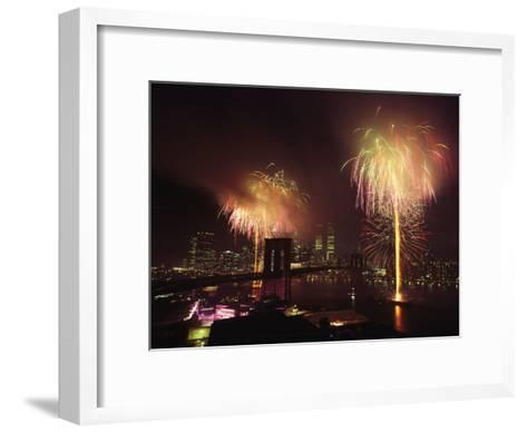 Fireworks in New York Harbor, July 4th-Medford Taylor-Framed Art Print