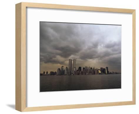 Storm Clouds over Lower Manhattan from the New Jersey Shore-Medford Taylor-Framed Art Print