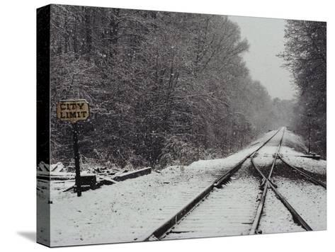 Snow Blanketed Railroad Tracks, Courtland, Virginia--Stretched Canvas Print