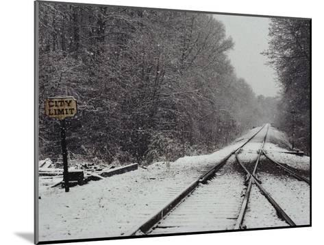 Snow Blanketed Railroad Tracks, Courtland, Virginia--Mounted Photographic Print