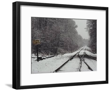 Snow Blanketed Railroad Tracks, Courtland, Virginia--Framed Art Print