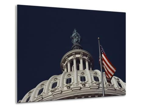 An American Flag and the Statue of Freedom Atop the Capitol Dome-Medford Taylor-Metal Print